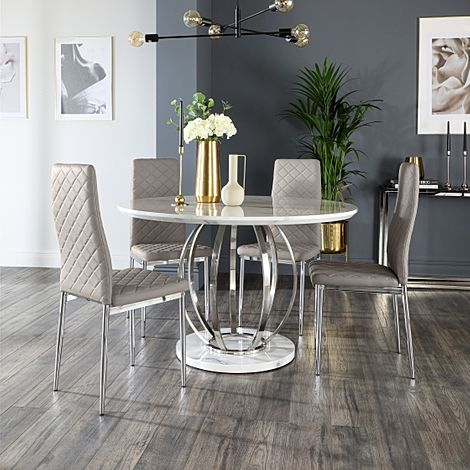 Savoy Round Grey Marble and Chrome Dining Table with 4 Renzo Taupe Leather Chairs