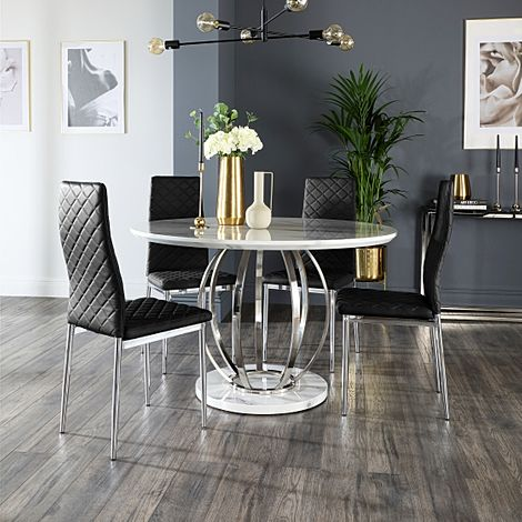 Savoy Round Grey Marble and Chrome Dining Table with 4 Renzo Black Leather Chairs