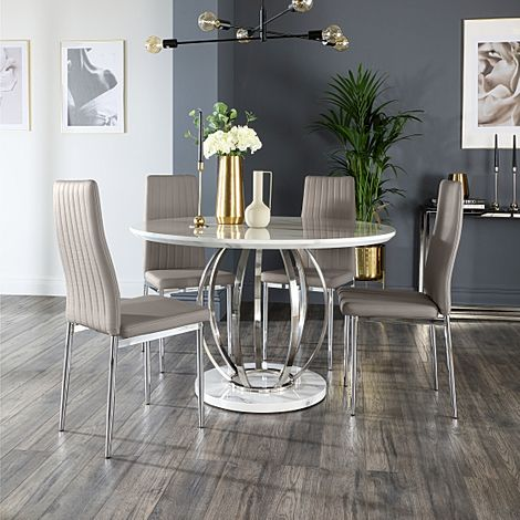 Savoy Round Grey Marble and Chrome Dining Table with 4 Leon Taupe Leather Chairs