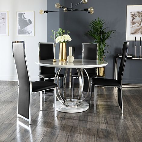 Savoy Round Grey Marble and Chrome Dining Table with 4 Celeste Black Leather Chairs