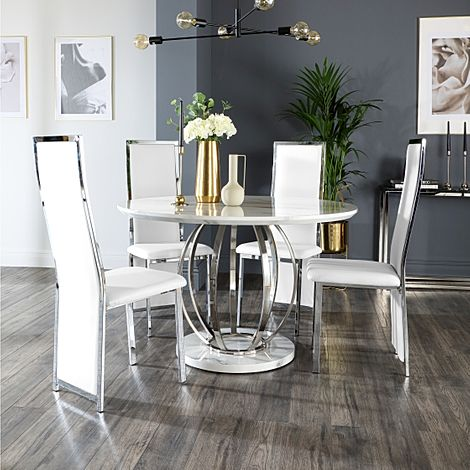 Savoy Round Grey Marble and Chrome Dining Table with 4 Celeste White Leather Chairs