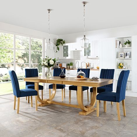 Pavilion Oak Extending Dining Table with 6 Salisbury Blue Velvet Chairs
