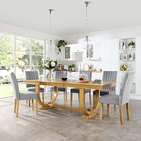 Pavilion Oak Extending Dining Table with 4 Salisbury Grey Velvet Chairs