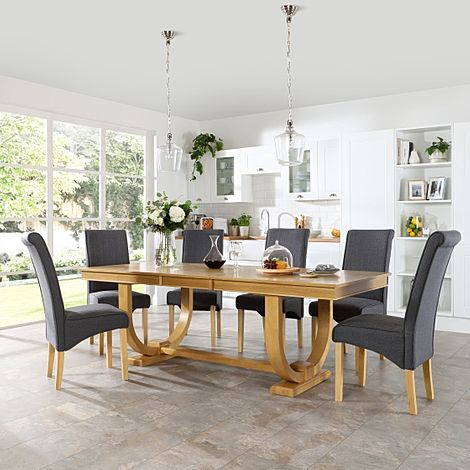 Pavilion Oak Extending Dining Table with 8 Stamford Slate Fabric Chairs