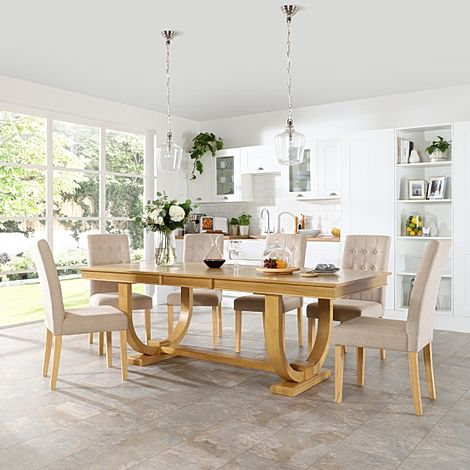 Pavilion Oak Extending Dining Table with 6 Regent Oatmeal Fabric Chairs