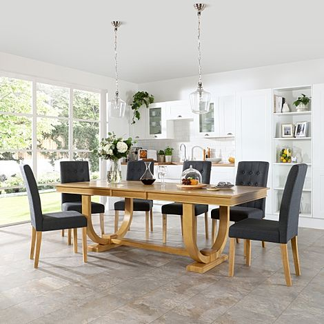 Pavilion Oak Extending Dining Table with 6 Regent Slate Fabric Chairs