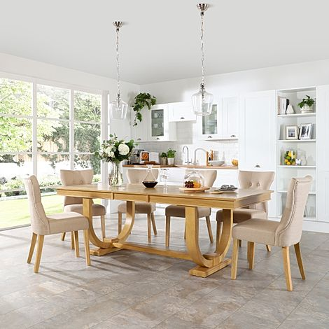 Pavilion Oak Extending Dining Table with 6 Bewley Oatmeal Fabric Chairs