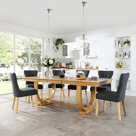 Pavilion Oak Extending Dining Table with 8 Bewley Slate Fabric Chairs