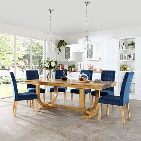 Pavilion Oak Extending Dining Table with 6 Regent Blue Velvet Chairs