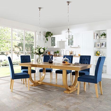 Pavilion Oak Extending Dining Table with 8 Regent Blue Velvet Chairs