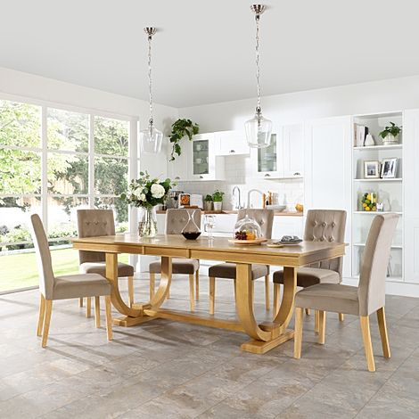 Pavilion Oak Extending Dining Table with 8 Regent Mink Velvet Chairs