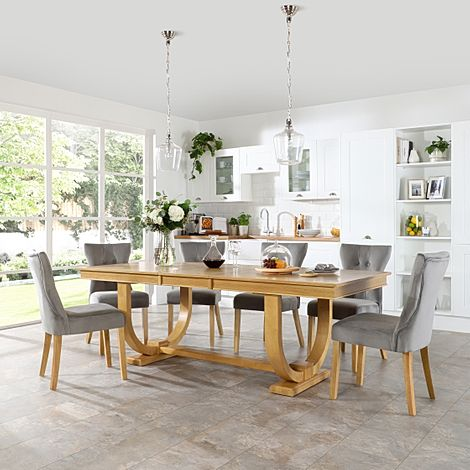 Pavilion Oak Extending Dining Table with 6 Bewley Grey Velvet Chairs