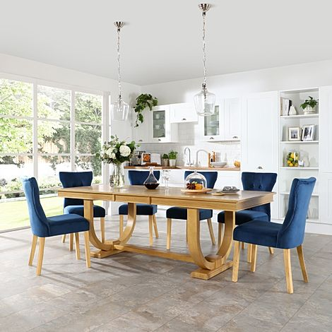Pavilion Oak Extending Dining Table with 6 Bewley Blue Velvet Chairs