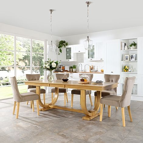 Pavilion Oak Extending Dining Table with 8 Bewley Mink Velvet Chairs