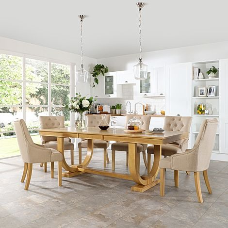 Pavilion Oak Extending Dining Table with 6 Duke Oatmeal Fabric Chairs