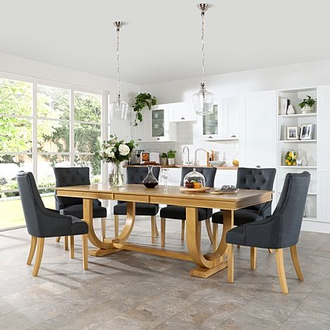 Pavilion Oak Extending Dining Table with 8 Duke Slate Fabric Chairs