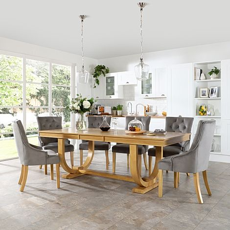 Pavilion Oak Extending Dining Table with 8 Duke Grey Velvet Chairs