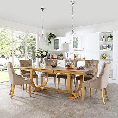Pavilion Oak Extending Dining Table with 8 Duke Mink Velvet Chairs