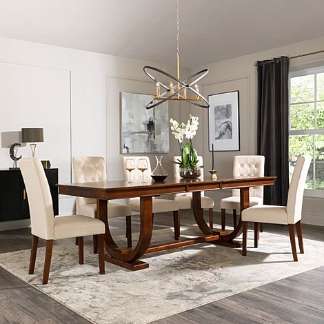 Pavilion Dark Wood Extending Dining Table with 8 Regent Oatmeal Fabric Chairs