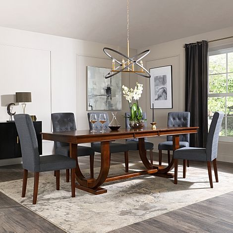 Pavilion Dark Wood Extending Dining Table with 8 Regent Slate Fabric Chairs