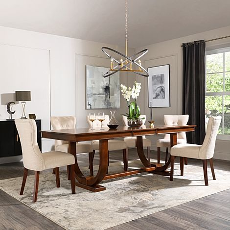 Pavilion Dark Wood Extending Dining Table with 6 Bewley Oatmeal Fabric Chairs