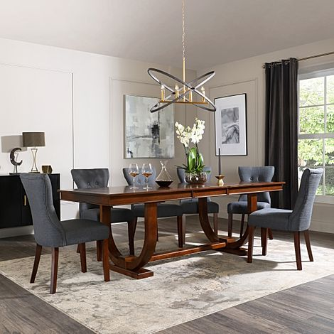 Pavilion Dark Wood Extending Dining Table with 6 Bewley Slate Fabric Chairs
