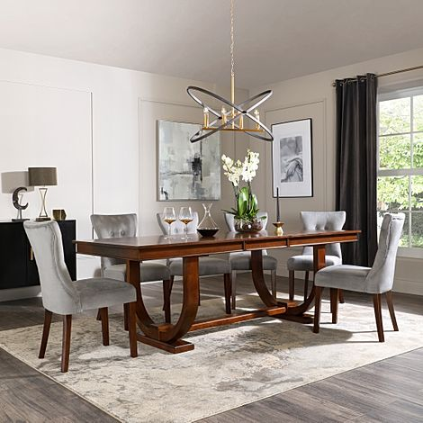 Pavilion Dark Wood Extending Dining Table with 6 Bewley Grey Velvet Chairs