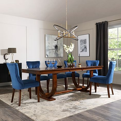 Pavilion Dark Wood Extending Dining Table with 8 Bewley Blue Velvet Chairs