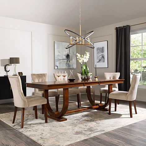 Pavilion Dark Wood Extending Dining Table with 4 Bewley Mink Velvet Chairs