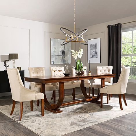 Pavilion Dark Wood Extending Dining Table with 8 Duke Oatmeal Fabric Chairs
