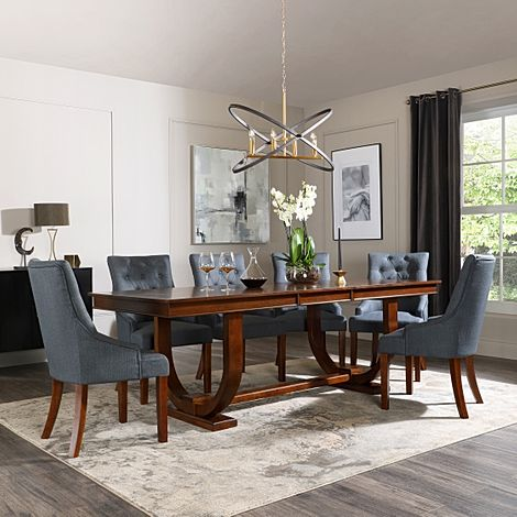 Pavilion Dark Wood Extending Dining Table with 8 Duke Slate Fabric Chairs