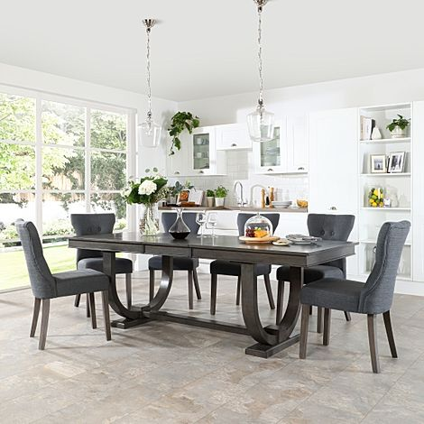 Pavilion Grey Wood Extending Dining Table with 6 Bewley Slate Fabric Chairs