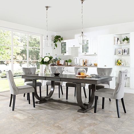 Pavilion Grey Wood Extending Dining Table with 4 Kensington Grey Velvet Chairs