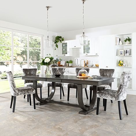 Pavilion Grey Wood Extending Dining Table with 6 Kensington Silver Velvet Chairs