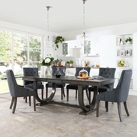 Pavilion Grey Wood Extending Dining Table with 6 Duke Slate Fabric Chairs