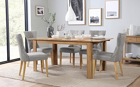 Bali Oak Extending Dining Table with 6 Bewley Light Grey Fabric Chairs
