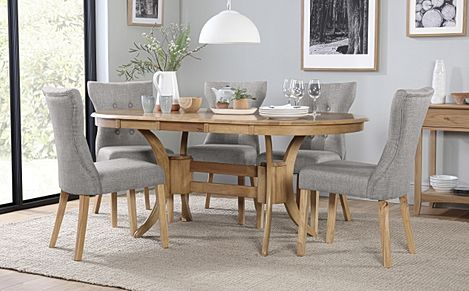 Townhouse Oval Oak Extending Dining Table with 6 Bewley Light Grey Fabric Chairs