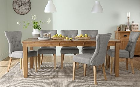 Highbury Oak Extending Dining Table with 8 Bewley Light Grey Fabric Chairs