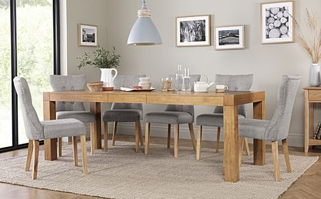 Cambridge 175-220cm Oak Extending Dining Table with 8 Bewley Light Grey Fabric Chairs