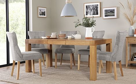 Cambridge 125-170cm Oak Extending Dining Table with 6 Bewley Light Grey Fabric Chairs