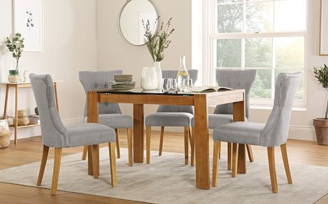 Tate 120cm Oak and Glass Dining Table with 6 Bewley Light Grey Fabric Chairs