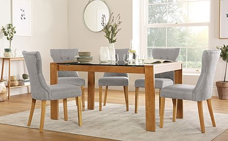 Tate 150cm Oak and Glass Dining Table with 6 Bewley Light Grey Fabric Chairs