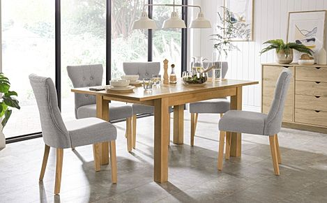 Hamilton 120-170cm Oak Extending Dining Table with 4 Bewley Light Grey Fabric Chairs