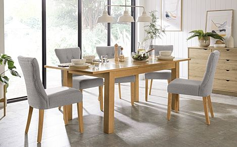 Hamilton 150-200cm Oak Extending Dining Table with 6 Bewley Light Grey Fabric Chairs