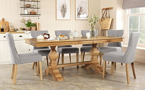 Cavendish Oak Extending Dining Table with 8 Bewley Light Grey Fabric Chairs