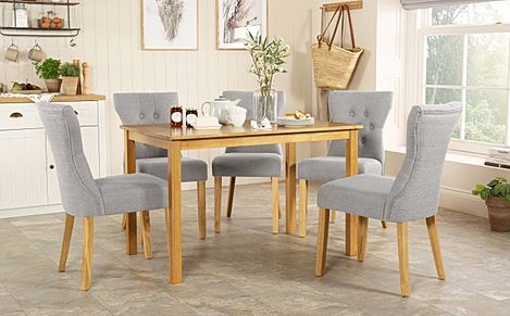 Milton Oak Dining Table with 6 Bewley Light Grey Fabric Chairs
