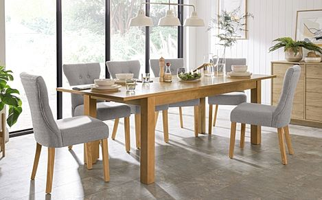 Hamilton 180-230cm Oak Extending Dining Table with 6 Bewley Light Grey Fabric Chairs