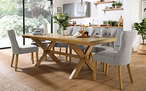 Grange Oak Extending Dining Table with 8 Bewley Light Grey Fabric Chairs