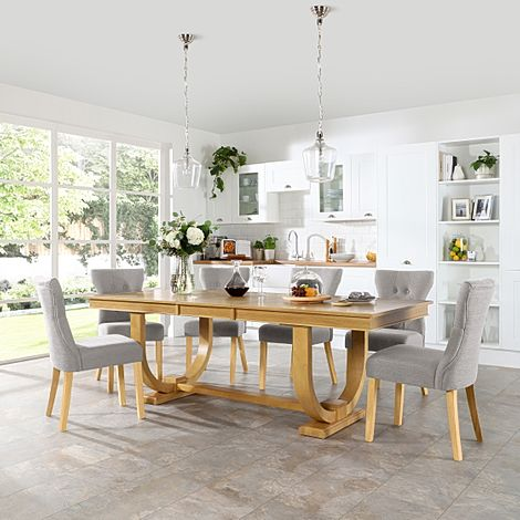 Pavilion Oak Extending Dining Table with 8 Bewley Light Grey Fabric Chairs