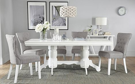 Chatsworth White Extending Dining Table with 6 Bewley Light Grey Fabric Chairs